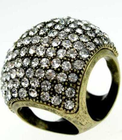 Bronze Diamond Embellished Four Holes Ring