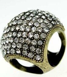 Bronze Diamond Embellished Four Holes Ring