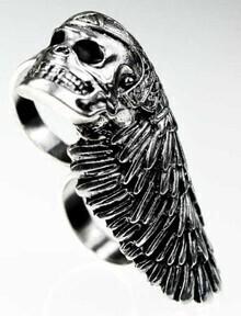 Silver Skull Helmets Style Ring