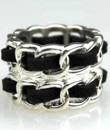 Silver Double Tangle Chain Ring