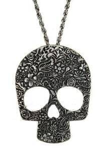 Silver Skull Floral Carve Long Chain Necklace