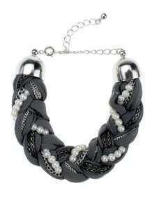 Grey Strap Chain Knitted Pear Embellished Bracelet