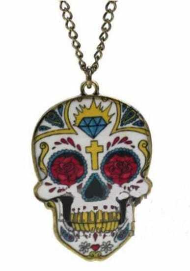 Yellow Skull Cross Diamond Rose Print Long Chain Necklace