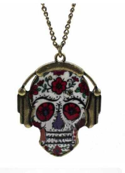 Red Skull Floral Print with Earphone Long Chain Necklace