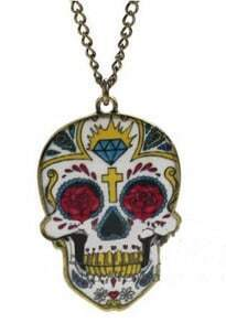 Yellow Skull Cross Diamond Rose Print Long Chain Necklace
