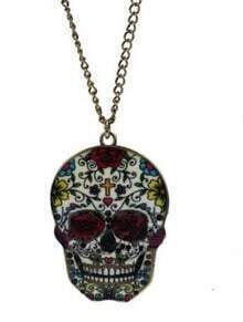 Red Skull Cross Floral Print Long Chain Necklace