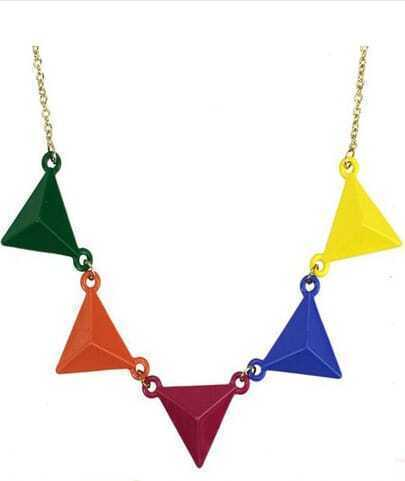 Multi Color Triangles Chain Necklace