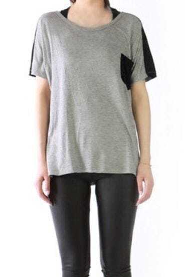Grey Short Sleeve Contrast Pocket and Back Long T-shirt