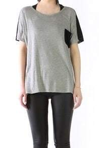 Grey Short Sleeve Contrast Pocket and Back Long T-shirt