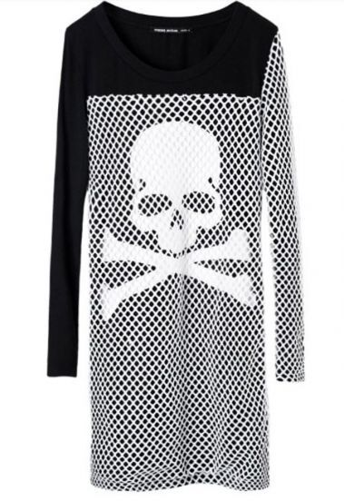 Black White Skull WARNING Print Net Yarn Long Sleeve T-Shirt