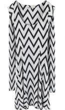 White Black Zigzag Strip Long Sleeve Flare Hem T-Shirt
