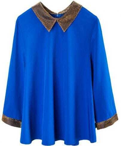 Blue Contrast Collar Half Sleeve Zip Back Chiffon T-Shirt