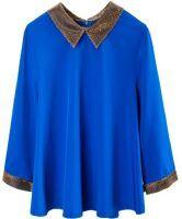 Blue Contrast Collar Half Sleeve Zip Back Chiffon T-Shirt