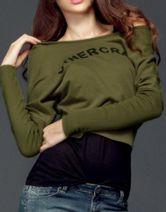 Dark Green OTHERCRAZY Print Batwing Long Sleeve T-Shirt