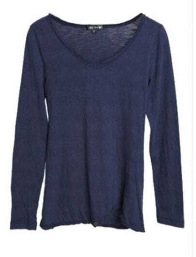 Navy V-neck Metal Button Long Sleeve T-Shirt