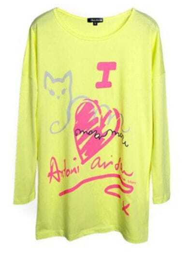 Yellow Red Heart And Cat Print Loose Long Sleeve T-Shirt
