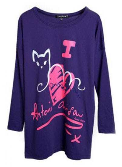 Purple Red Heart And Cat Print Loose Long Sleeve T-Shirt