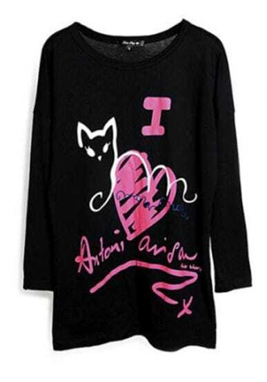 Black Red Heart And Cat Print Loose Long Sleeve T-Shirt