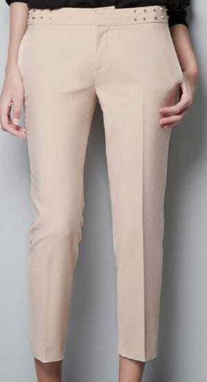 Ivory Rivets Mid Waist Pocket Back Crop Pant