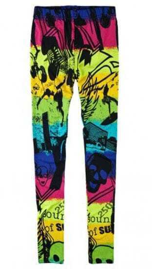 Colorful House And Skull Print Elastic Waist Legging
