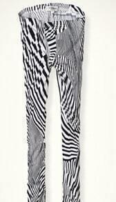 Black White Irregular Stripes Elastic Waist Legging