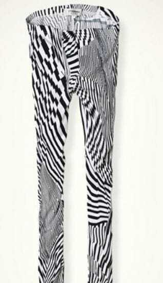Black White Irregular Stripes Elastic Waist Legging