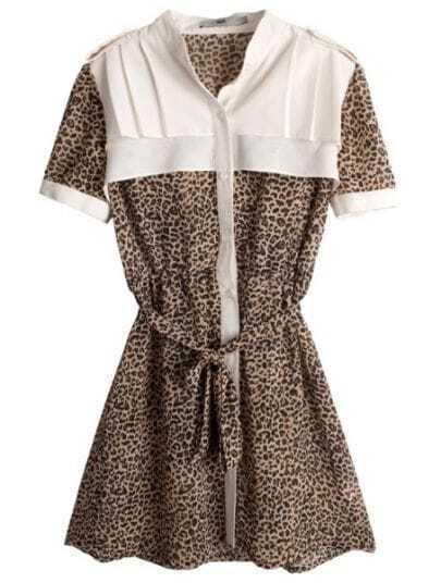 Leopard High Neck Short Sleeve Pleated Polyester Shirt