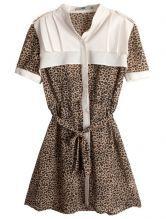 Leopard High Neck Short Sleeve Pleated Polyester Shirt