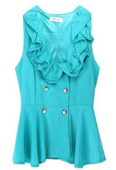 Turquoise Sleeveless Double Breasted Pleated Shirt