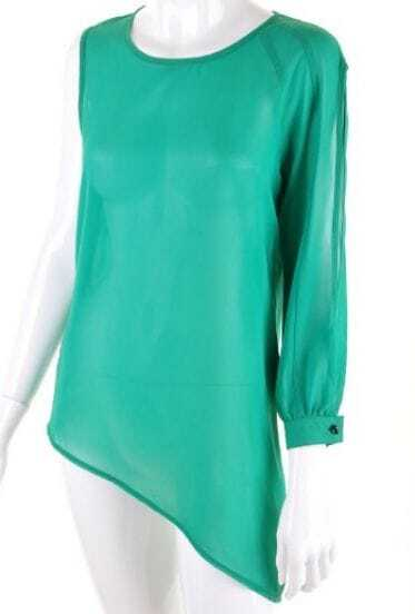 Green Round Neck One Sleeve Asymmetrical Lace Chiffon Shirt