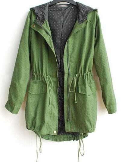 Green Hooded Long Sleeve Polka Dot Zipper Cotton Blends Outerwear