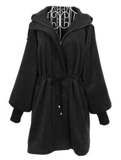 Dark Grey Hooded Long Puff Sleeve Zipper Outerwear