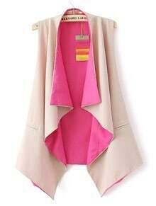 Pink Collarless Sleeveless Ruffles Chiffon Outerwear