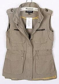 Khaki High Neck Sleeveless Pockets Cotton Outerwear