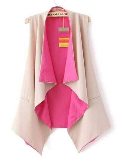 Pink Collarless Sleeveless Ruffles Chiffon Outerwear