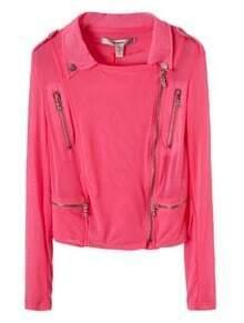 Pink Lapel Long Sleeve Zipper Single Breasted Coat