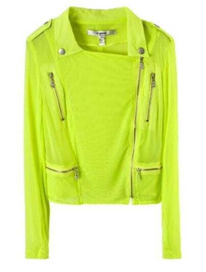 Light Yellow Lapel Long Sleeve Zipper Single Breasted Coat