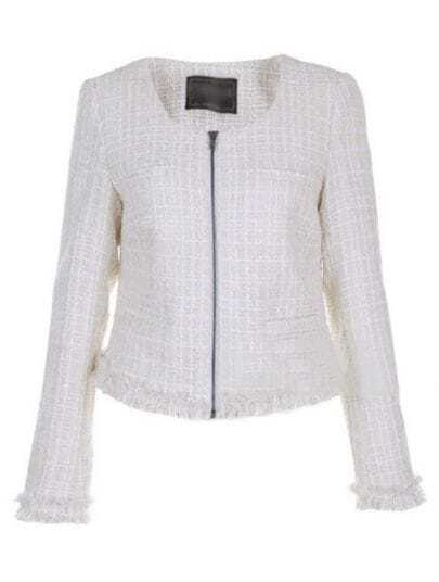 White Round Neck Long Sleeve Zipper Plaid Wool Outerwear