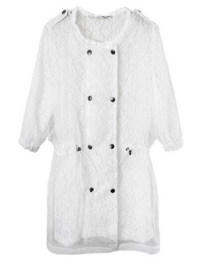 White Round Neck Half Sleeve Double Breasted Lace Outerwear