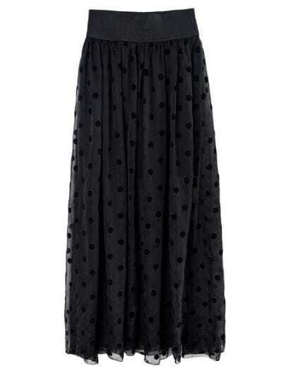 Black Polka Dot Polyester Full-Length Skirt