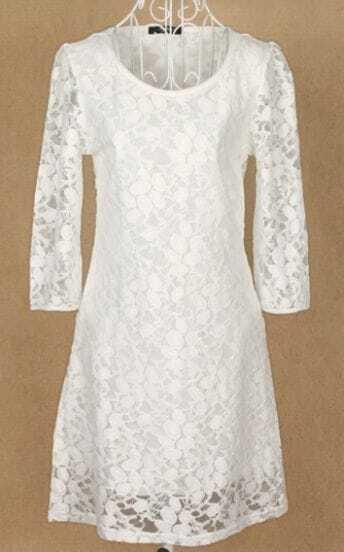 White Long Sleeve Eyelet Floral Print Lace Dress