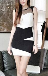 White Contrast Black Panel Sleeveless Mesh Bodycon Zip Back Dress