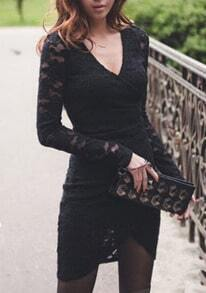Black Floral Lace Long Sleeve Criss-cross Warp Dress