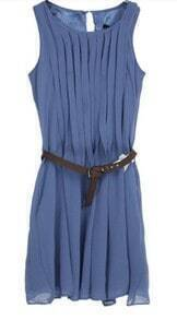Blue Chiffon Sleeveless Pleated Belt Short Dress