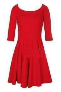 Red Vintage Half Sleeve Flare Short Dress