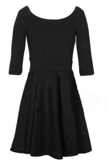 Black Vintage Half Sleeve Flare Short Dress