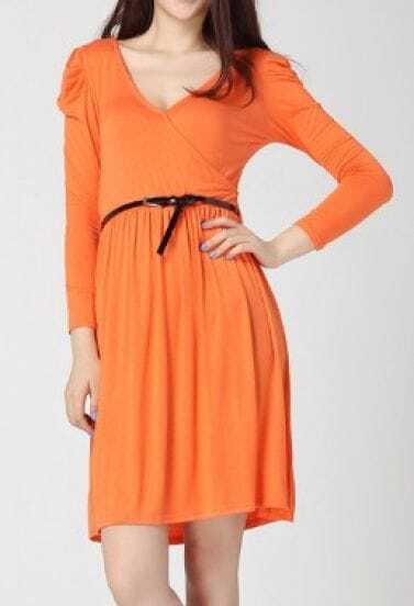 Orange Cotton Blends V Neck Puff Sleeve Belt Wrap Dress