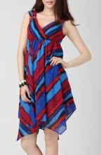 Color Block Chiffon Sleeveless Criss-cross Asymmetric Hem Dress