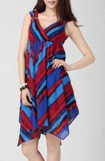 Color Block Chiffon Sleeveless Criss-cross Asymmetric Hem Dress
