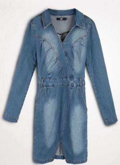 Blue Denim Long Sleeve Pockets Cut Out Shirt Dress